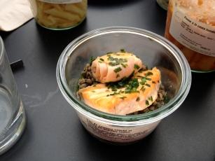 duo de saumon snacké lentilles vertes