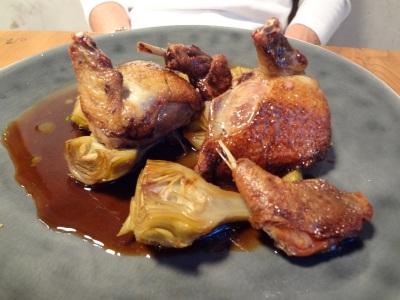 pigeon rôti artichauts