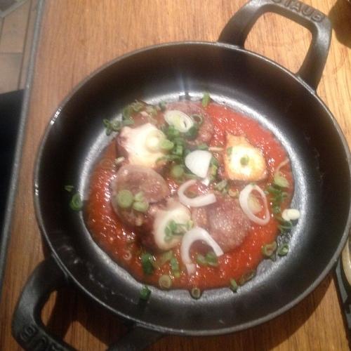 poulpe saucisse tomate